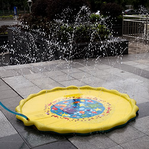 HALOFUN 67in-Diameter Sprinkle and Splash Play Mat for Kids Summer Gifts