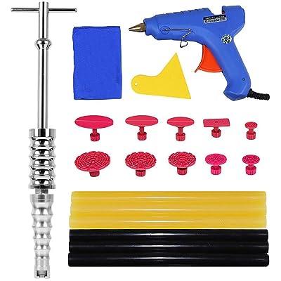 JMgist Dent Repair Kit Slide Hammer Paintless Dent Removal Tools with Glue Gun Set 24pcs for Auto Car Body Dent Removal: Automotive