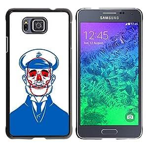 GOODTHINGS Funda Imagen Diseño Carcasa Tapa Trasera Negro Cover Skin Case para Samsung GALAXY ALPHA G850 - Monopatín azul de marinero roja barba blanca