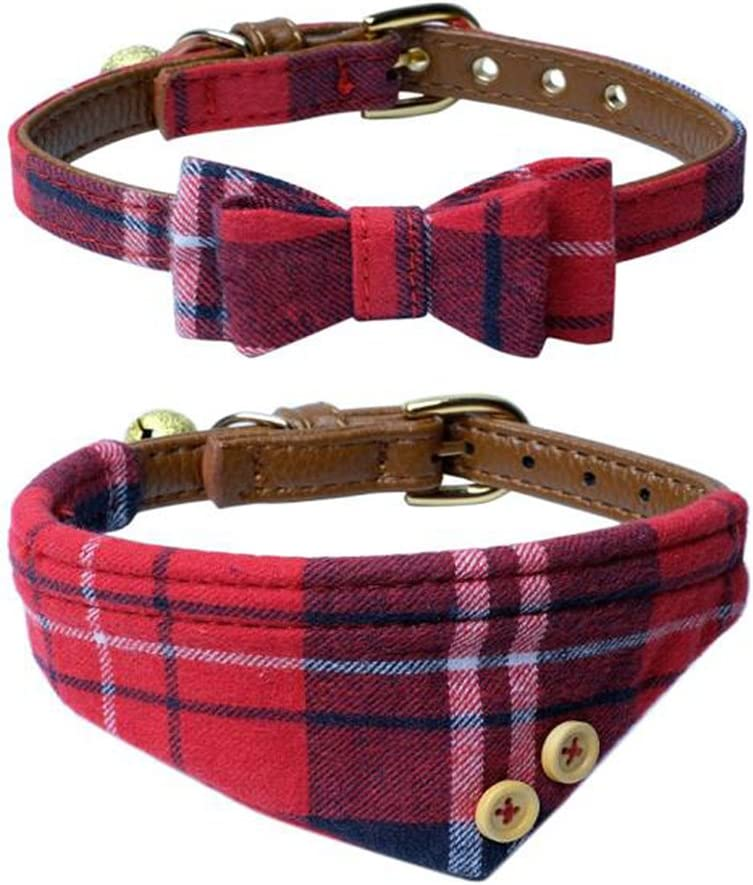 Personalized plaid Pet Collar with bandana scarf