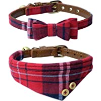 The creativehome Dog Cat Collars Leather for Small pet,Adjustable Bow-tie and Scarf Puppy Collars with Bell,Cute Plaid…