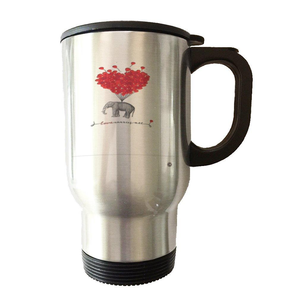ElephantレッドBallons – 14オンスステンレススチール真空タンブラーTravel Mug with Handle and Leak Proof蓋   B06WGVFGQN