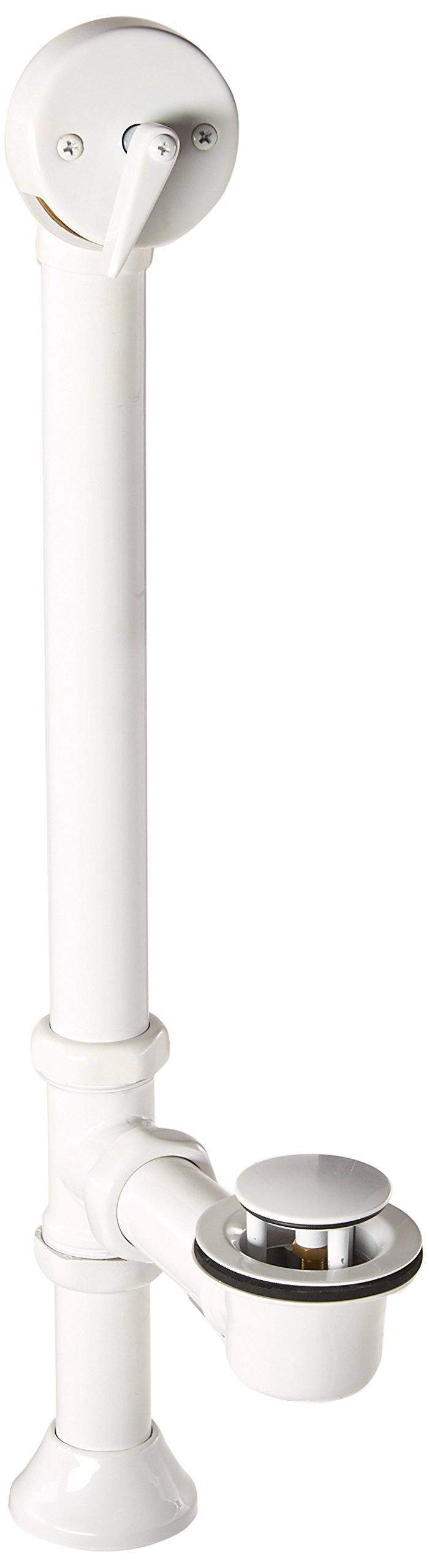 KOHLER K-7178-0 Clearflo Decorative 1-1/2 Inch Adjustable Pop-Up Bath Drain for 5-Feet Whirlpool with Tailpiece, White