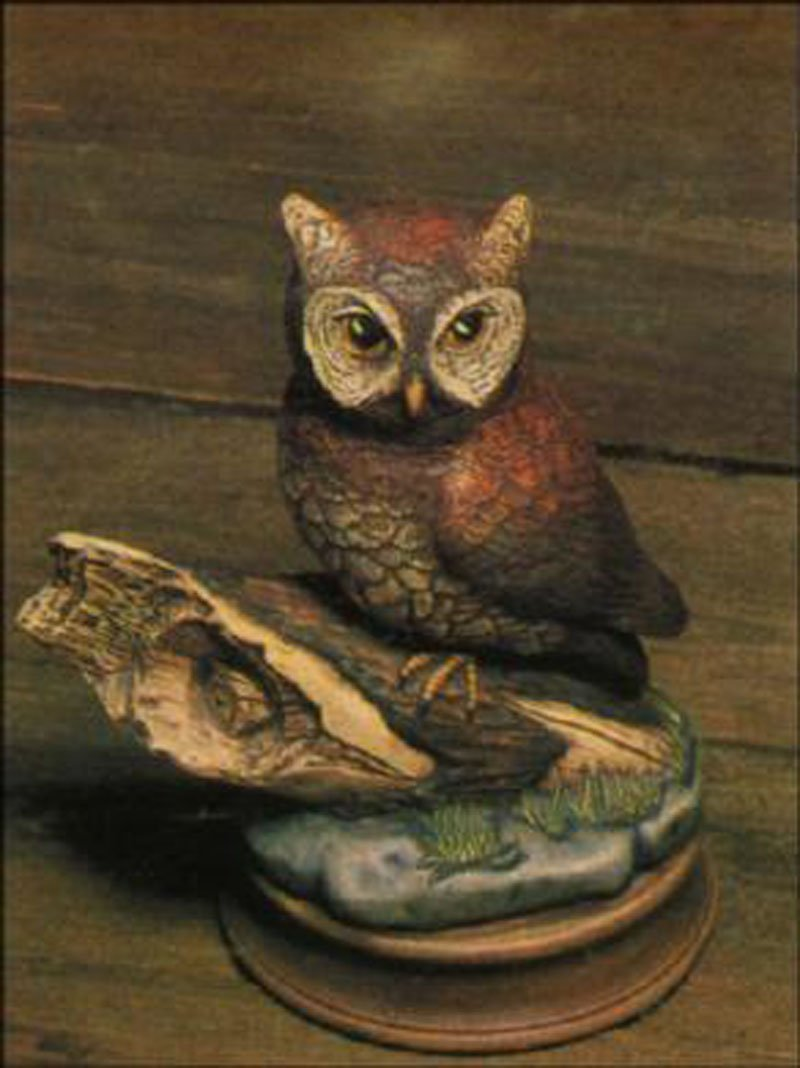 ready to paint Great Horned Owl on Branch Ceramic Bisque