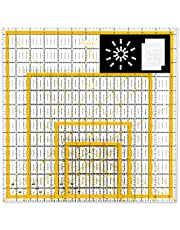 """Magicfly Acrylic Quilting Ruler, Set of 4 Transparent Square Quilter Ruler with 48 Non-Slip Rings & 20Pcs Transparent Sewing Clips, Double-Colored Grid Lines (4.5""""x 4.5"""", 6""""x 6"""", 9.5""""x 9.5"""", 12.5""""x 12.5"""")"""