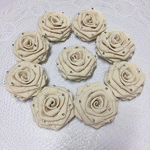 "10 Pcs/lot Ivory Fabric Rose Vintage 2.5"" Vintage Flowers Rosette Wholesale Flower Headband Floral Embellishment Bridal Bouquet Flowers (2.5 inches, Ivory) from SAJIKA DIY"