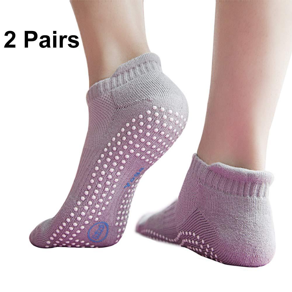 H-Brotaco Non Slip Skid Socks with Grips for Yoga,Barre Pilates,PiYo,Men and Women,2 Pairs Grey