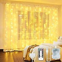 Vindany Cortina de Luces LED - USB y Luz de Cadena Alimentada por Batería Luces Decorativas de Hadas Luces Interiores…