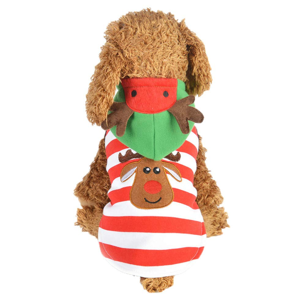 abcnature Christmas Pet Dog Puppy Elk Printed Hoodie Striped Style Winter Warm Clothes Dress Up Xmas Coat