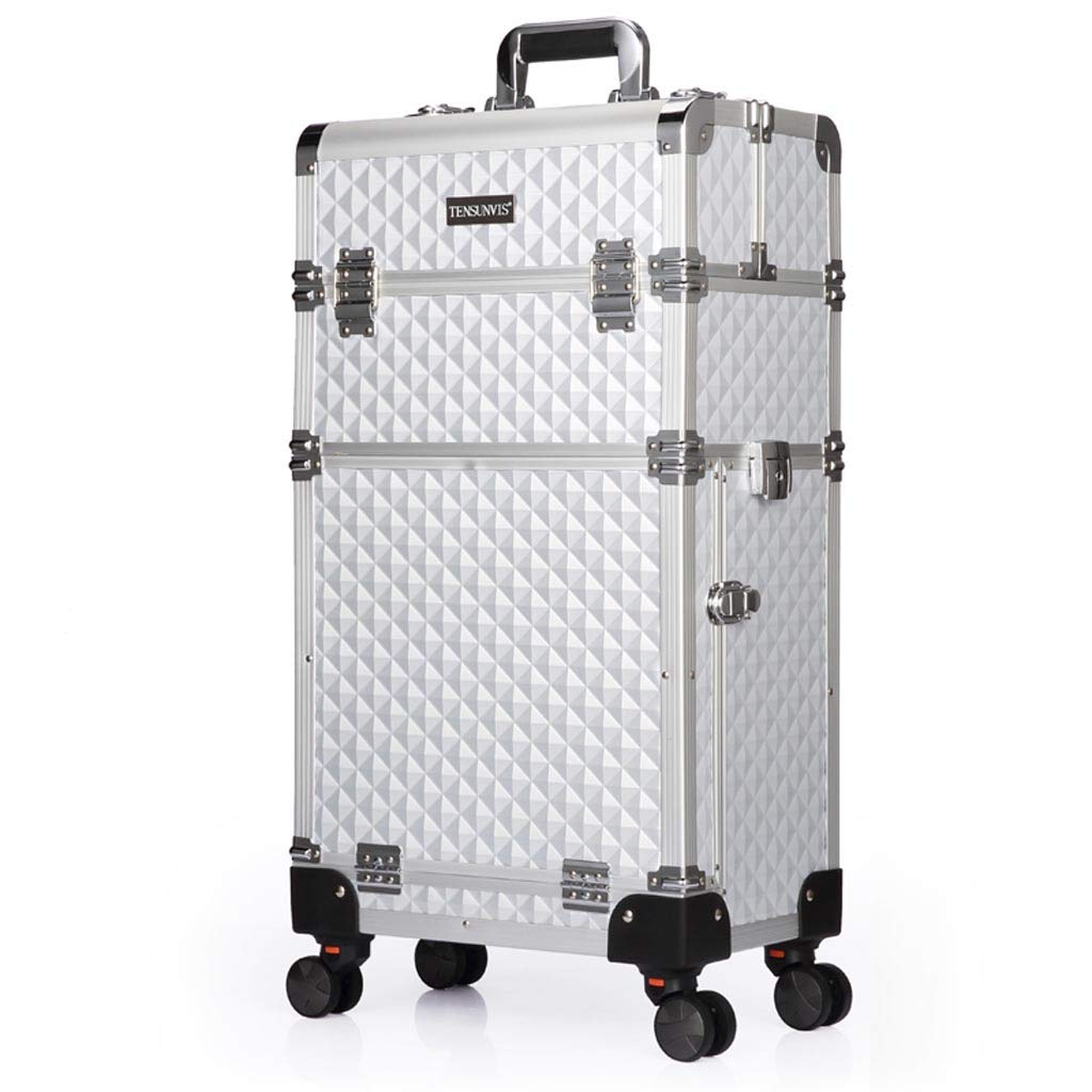 TY BEI Multifunctional Aluminum Alloy Frame Large Universal Wheel Split Rod Cosmetic Case Professional Hairdressing Box 7.5×24.5×73cm Silver Color