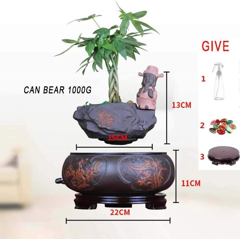 Creative Design Levitation Bonsai Magnetic Suspension Levitating Air Flower Pots Fun Gift Home Office Decorations Garden Pots,Floating Bonsai Pot