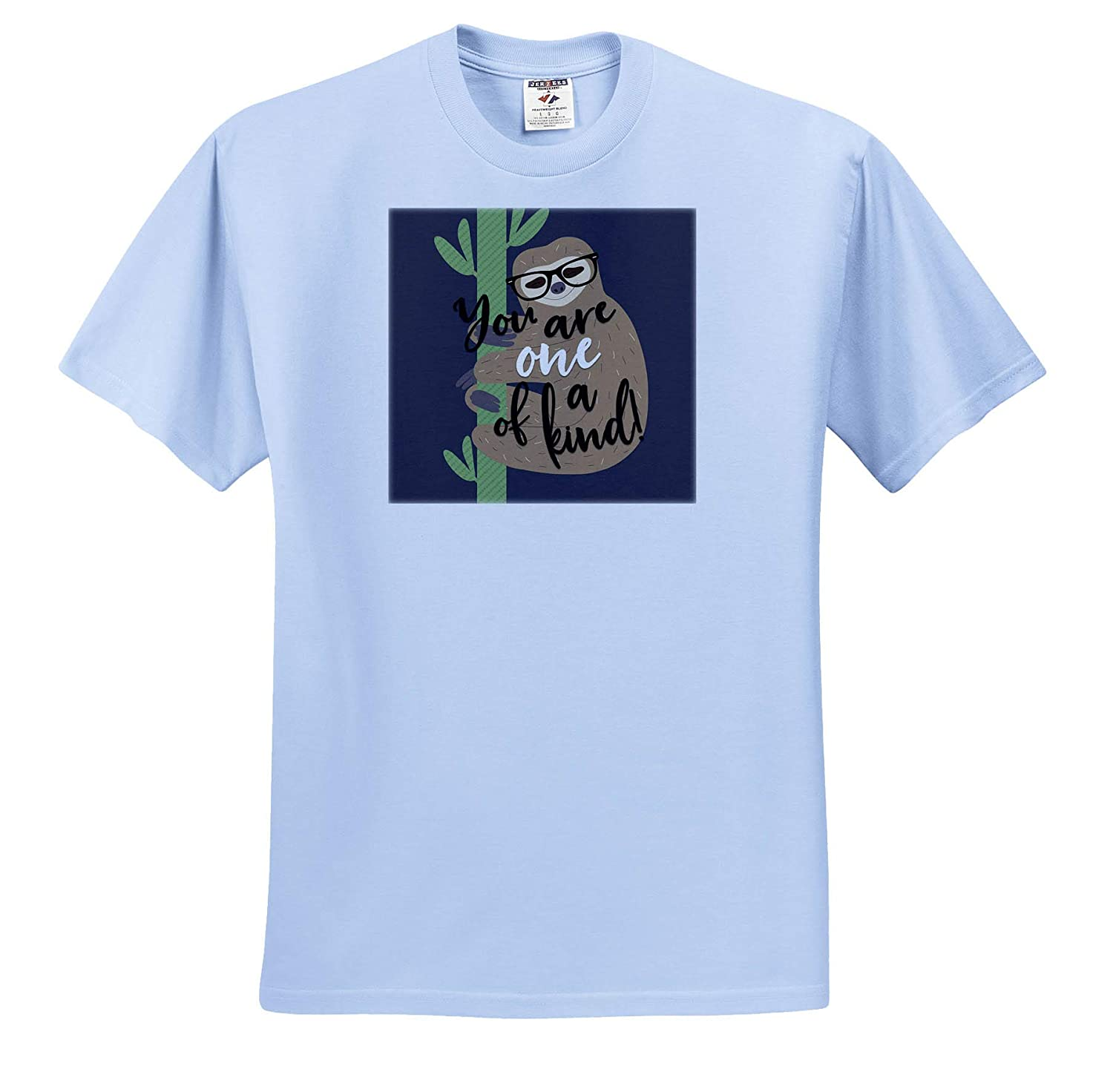 ts/_319853 Adult T-Shirt XL You are One of A Kind Cute Sloth 3dRose Janna Salak Designs Text Art