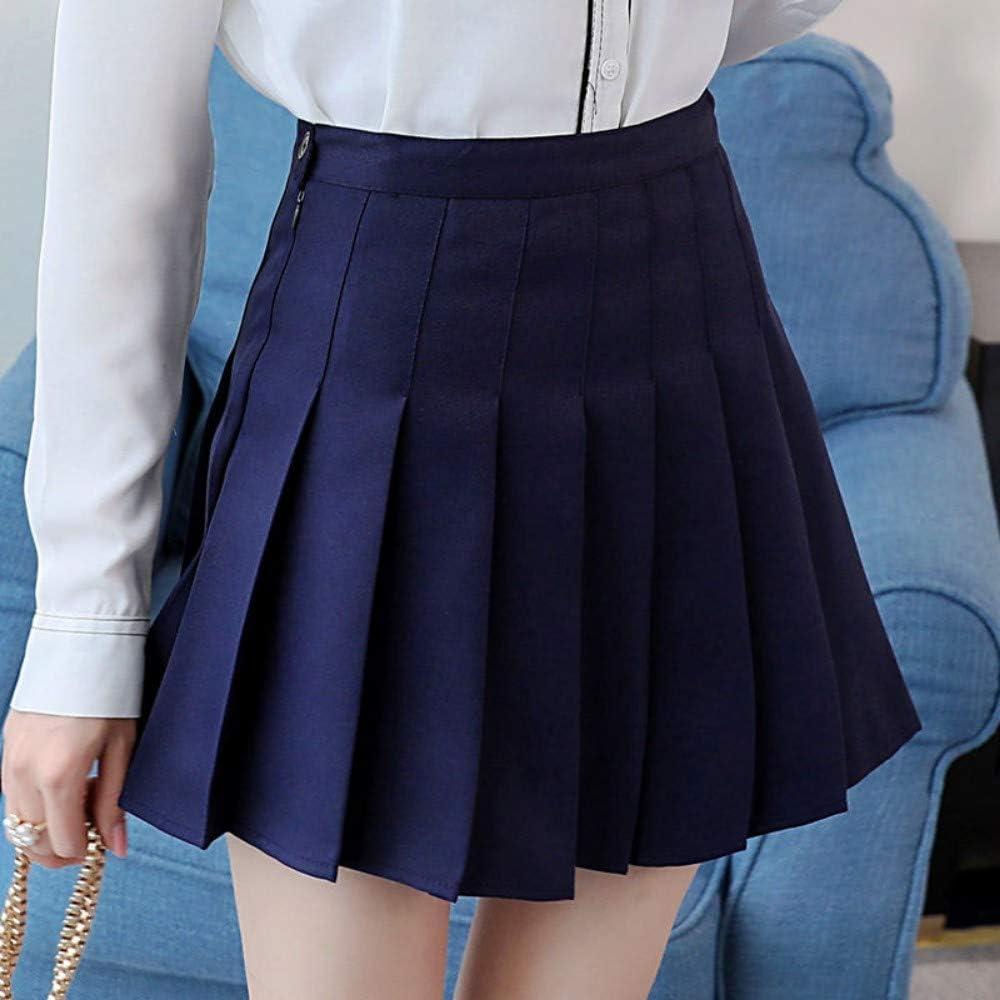 Falda,Azul Oscuro Moda Mujer Verano Cintura Alta Falda Plisada ...