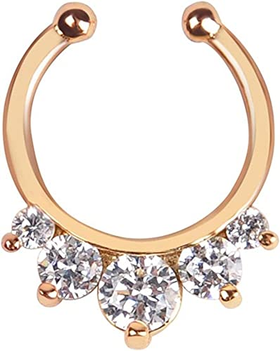 Fake Septum Clicker Nose Ring Non Piercing Hanger Clip On Jewellery Crystal