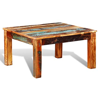 Amazon.com: Festnight Rustic Coffee Table Reclaimed Wood Sofa And Couch End Side  Table For Living Room Home Furniture (Square): Kitchen U0026 Dining
