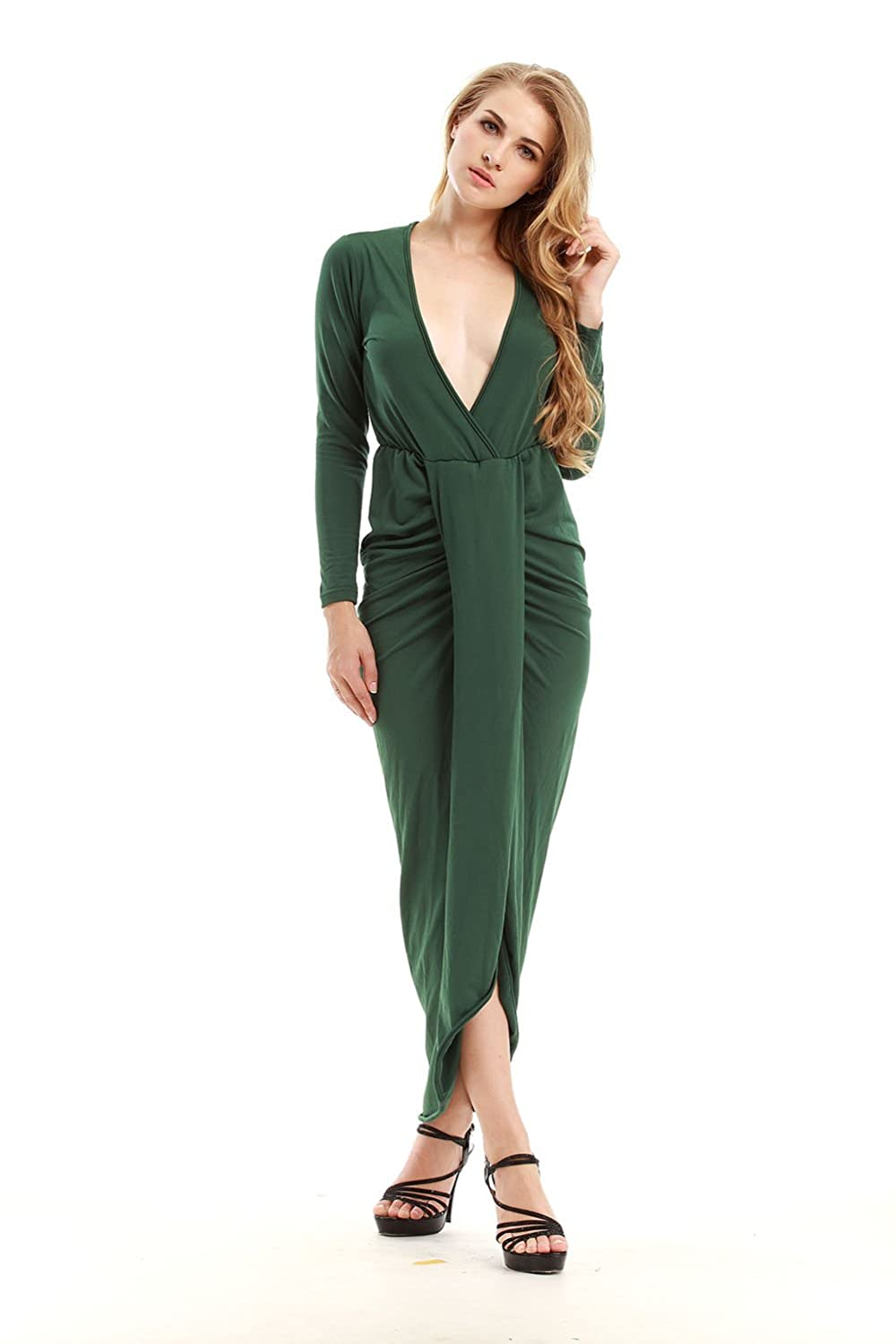 TeeDoc Women Plain Pleated V-neck Slit Front Long Sleeve Wrap Cocktail Dresses