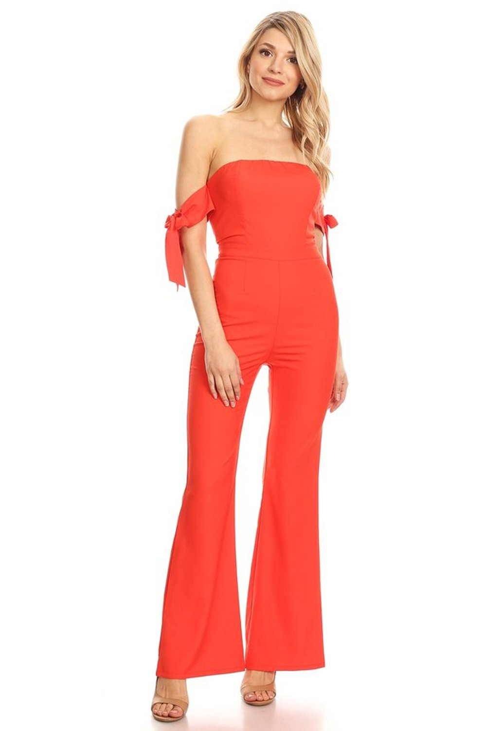 StyleEvery1 Women's Sexy Off Shoulder Bow Tie Sleeves Palazzo Pants Summer Casual Jumpsuits (Medium, Tomato red)