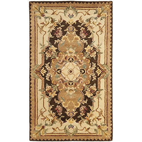 Safavieh Empire Collection EM823B Handmade Traditional European Brown and Beige Premium Wool Area Rug (3' x 5')