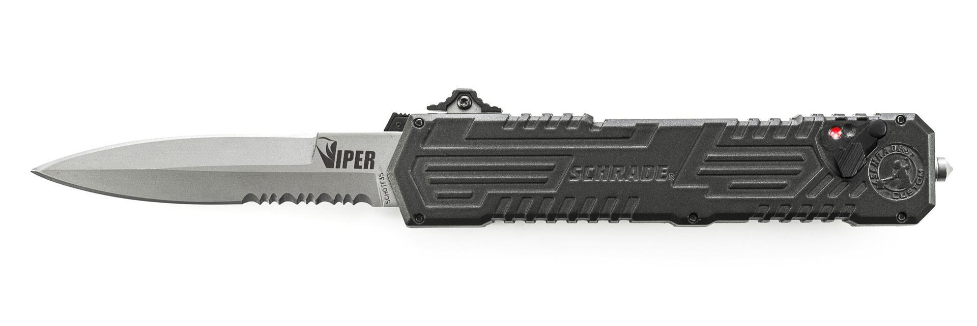 Viper 3, OTF, Black Handle, Bead Blast Blade, Serrated
