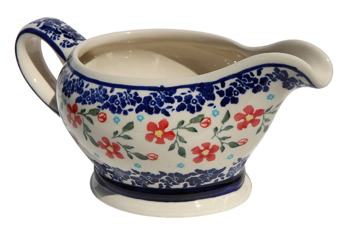 Polish Pottery Gravy Boat 16 Oz. From Zaklady Ceramiczne Boleslawiec #1258-964 Traditional Pattern, Capacity 16 Oz.