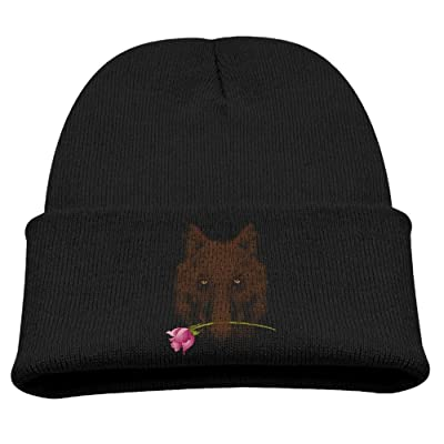 Abstract Wolf Boy Girls Beanie Hats Windproof Skull Caps