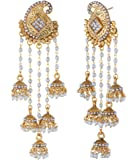 Shining Diva Fashion Jewellery 18k Gold Plated Stylish Fancy Party Wear Pearl Jhumka Jhumki Traditional Earrings For Women & Girls
