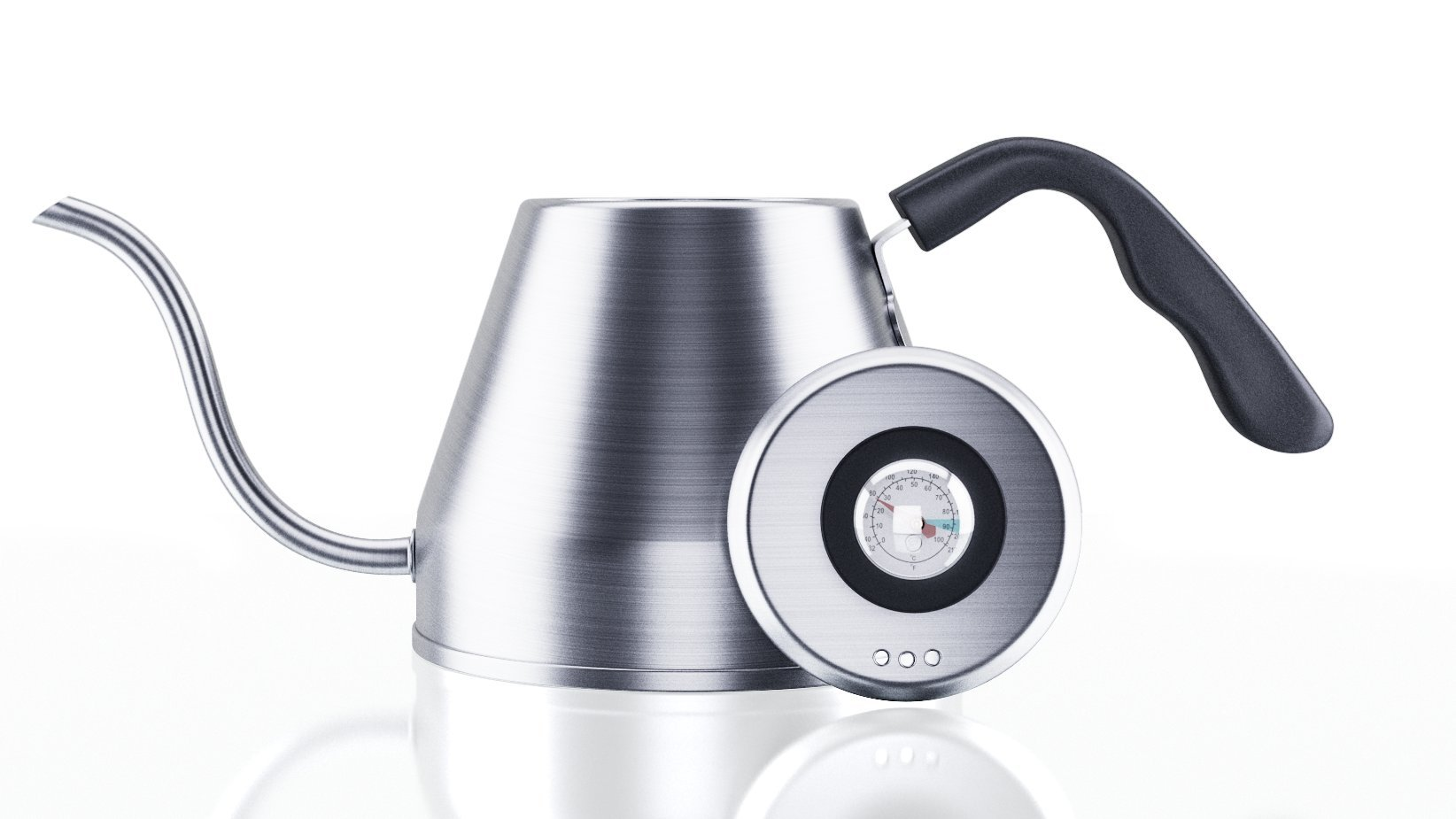 Pour Over Gooseneck Coffee Kettle 1.2L -- Thermometer, Stainless Steel Drip Built In Temperature Gauge