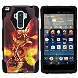 MINITURTLE Case Compatible w/ LG Stylo Phone Case, Armor Cover SHOCK Impact Stand Case w/ Customized Designs for LG G Stylo LS770, H631, MS631, LG G4 Stylus Rose Flame