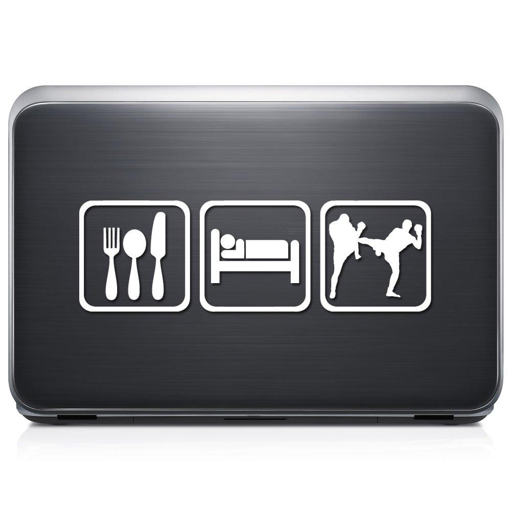 Eat sleep thai kickboxing permanent vinyl decal sticker for laptop tablet helmet windows wall decor car truck motorcycle size 07 inch 18 cm wide