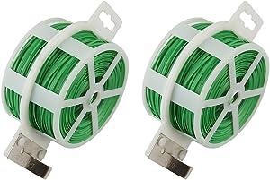Shintop 2PCS 328 Feet Garden Plant Twist Tie with Cutter for Gardening, Home, Office (Green)