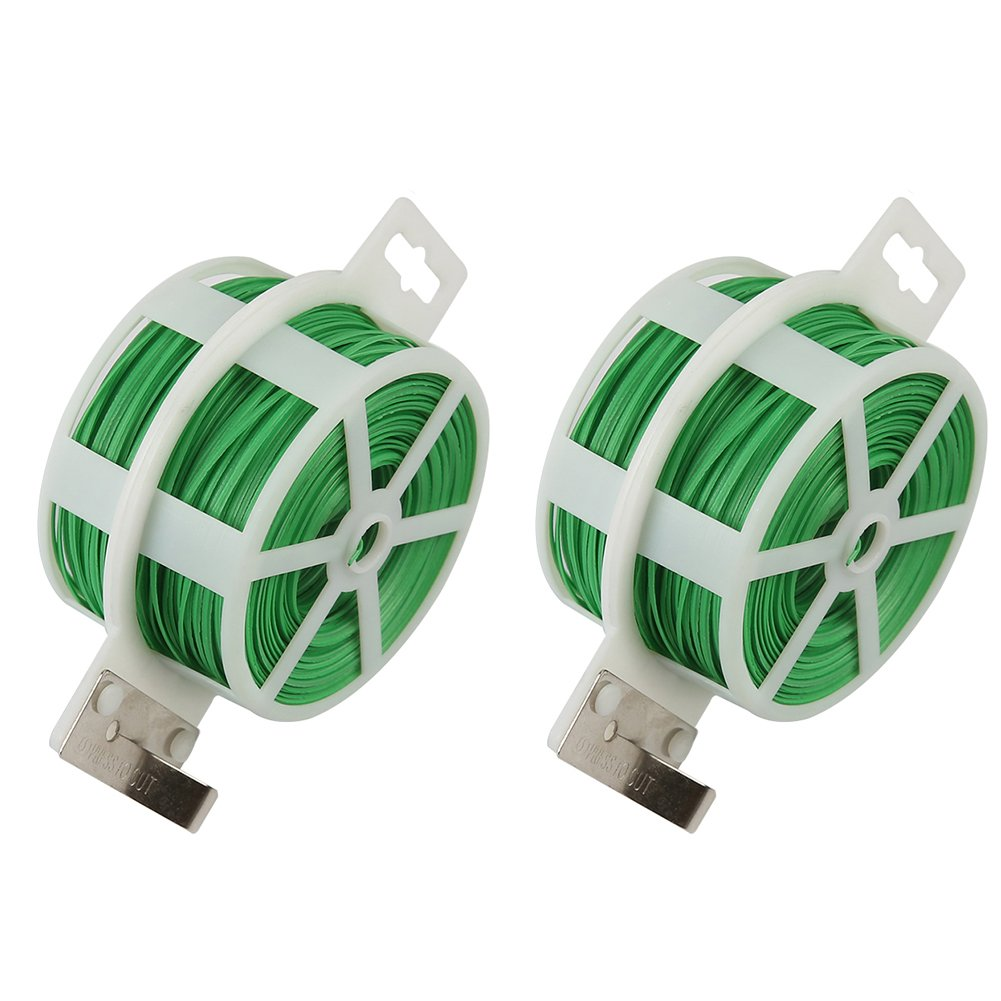 Shintop 2PCS 328 Feet Garden Plant Twist Tie with Cutter for Gardening, Home, Office (Green)