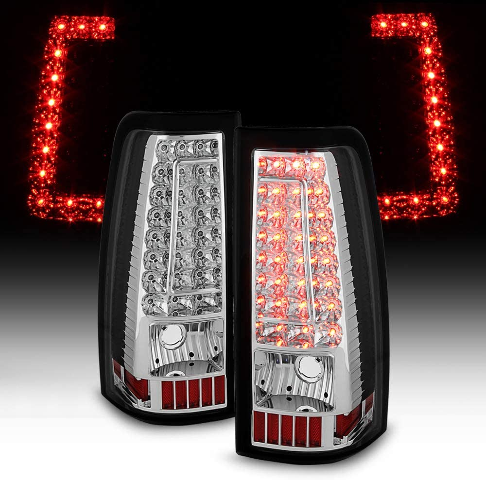 ACANII For 2003 2004 2005 2006 Chevy Silverado 1500 2500 3500 Red LED Tail Lights w//LED Tube Brake Lamps Left+Right