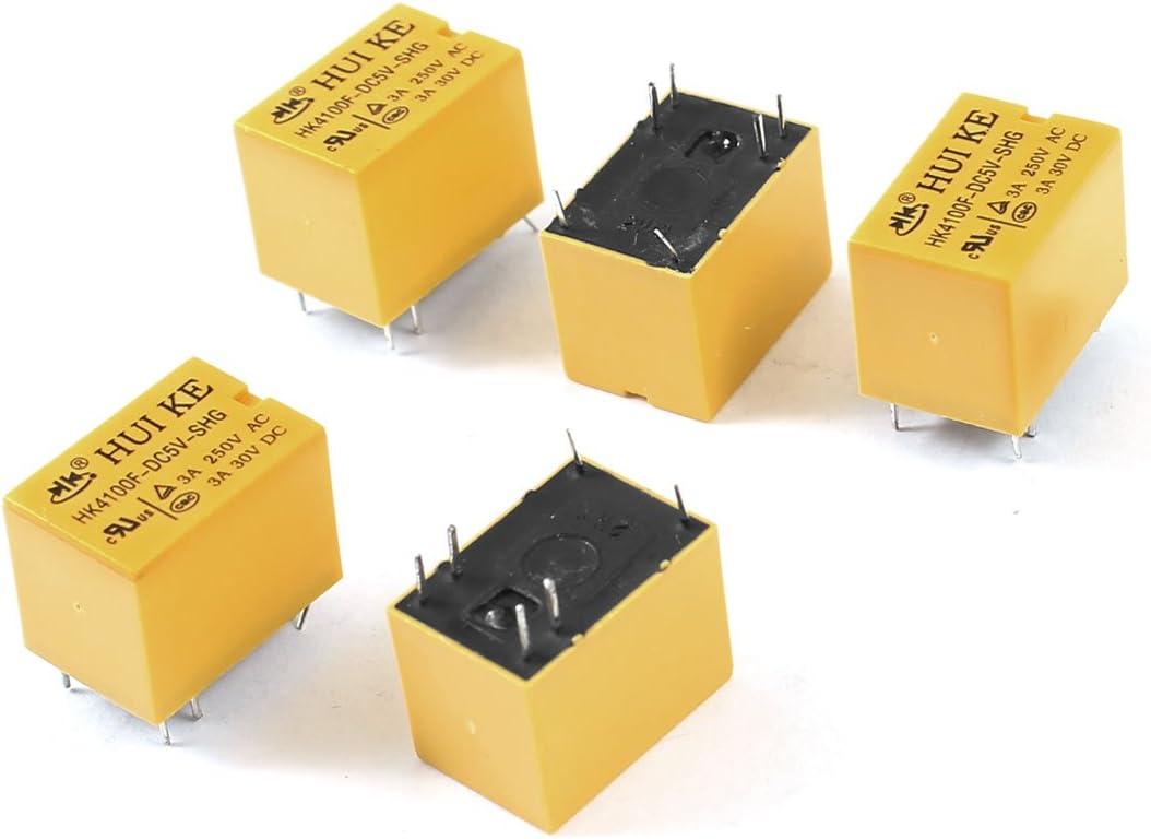5 Piezas DC 5V Bobina SPDT 6-Pin PCB Tipo Mini El/éctrico Rel/és Amarillo