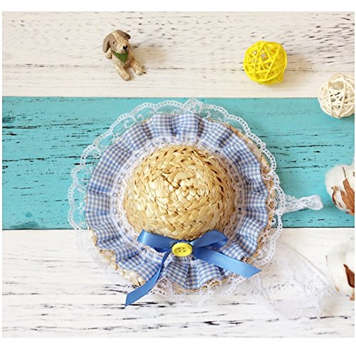 Stock Show Pet Handcrafted Woven Straw Hat, Dog Spring Summer Sunhat Cute Plaid Ruffles and Blue Bowknot Ribbon with Adjustable String Hat for Pet Dog Cat Rabbit Party Daliy Wear Photo Props