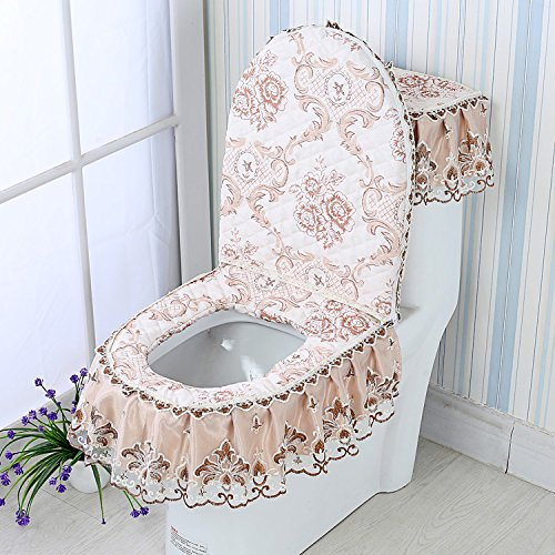 Aa GH-Four Seasons General flannel toilet mat, three sets of thickening toilet seat cushion, toilet seat cover, U cushion,ZN