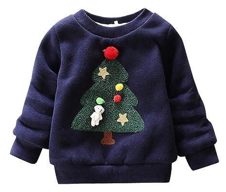 Happy cherry - Sudadera Niños Navidad Ropa Infantil con Estampado Navideño para Primavera Otoño Transpirable Camiseta Cuello Redondo Algodón 0-1 Años: ...