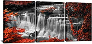 """3 Pieces Red Tree Forest Canvas Wall Art Red Gray White Poster Waterfall Picture Print Natural Landscape Paintings Modern Home Bedroom Bathroom Wall Decoration 12""""x16""""x3PCS"""