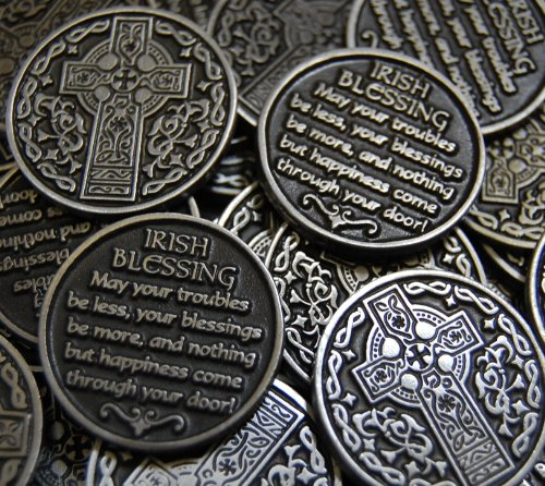 Irish Coin Set - Set of 10 Celtic Cross Irish Blessing Pocket Token Coins