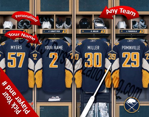 Buffalo Sabres Team Locker Room Clubhouse Personlized Officially Licensed NHL Photo Print