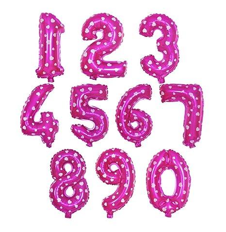 Oyfel Globos Aluminio 0 – 9 Número Alfabeto diseño Rosa para Fiestas cumpleaños Boda 10 pcs
