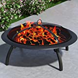 "Regal Flame Classic Cast 29"" Portable Outdoor Fireplace Fire Pit For Backyard Patio Fire Bowl, Includes Safety Mesh Cover, Poker Stick, Great for Camping, Outdoor Heating, Bonfire, Picnic"