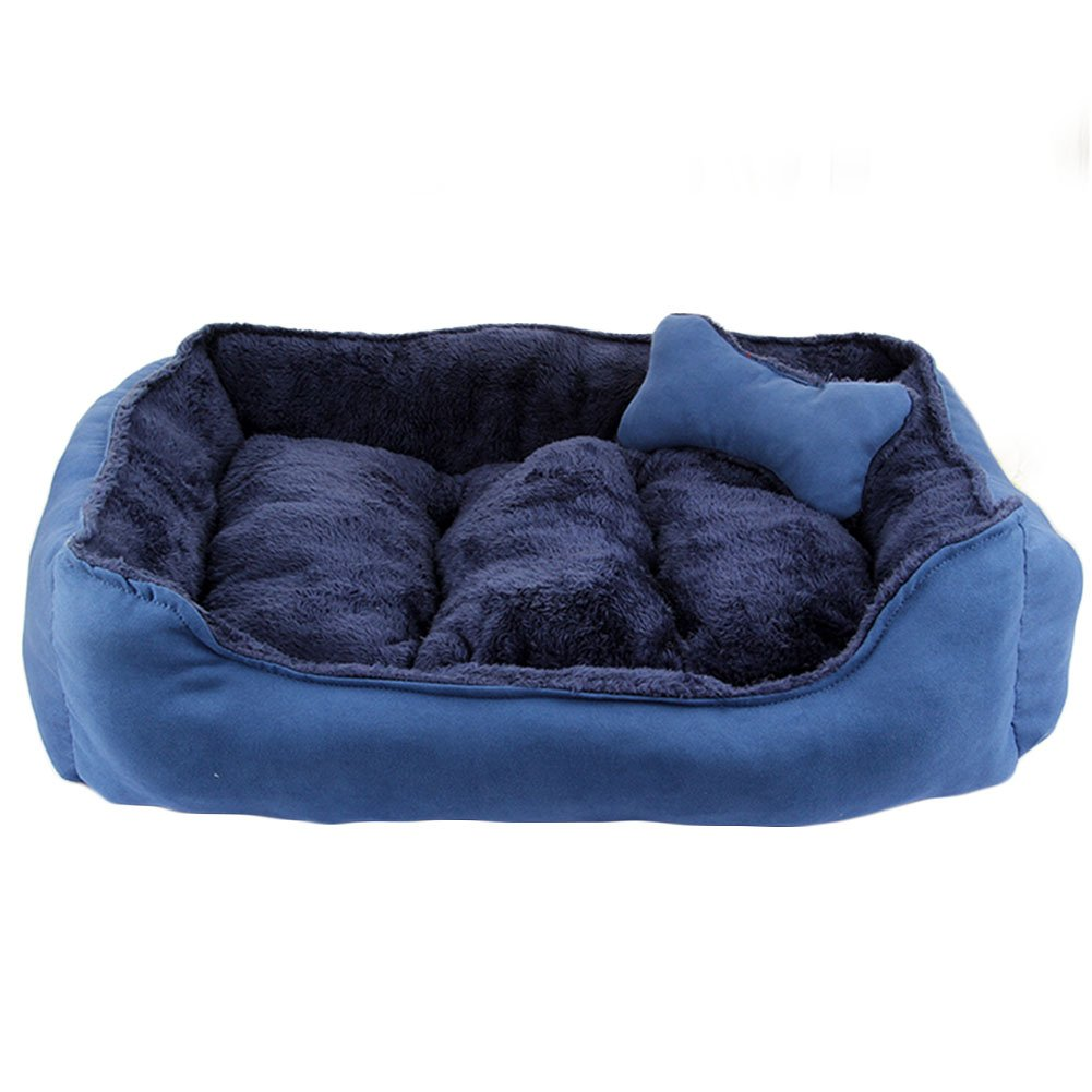 Cama para mascotas de lujo para gatos y pequeño perro mediano Cuddler con suave cojín desmontable (S-50x40x15cm, Azul)