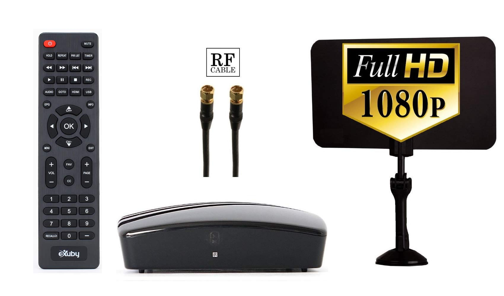 Digital TV Converter Box - Digital Antenna - RF and RCA Cable - Complete Bundle to View and Record HD Channels (Instant or Scheduled Recording, 1080P HDTV, HDMI Output and 7 Day Program Guide)