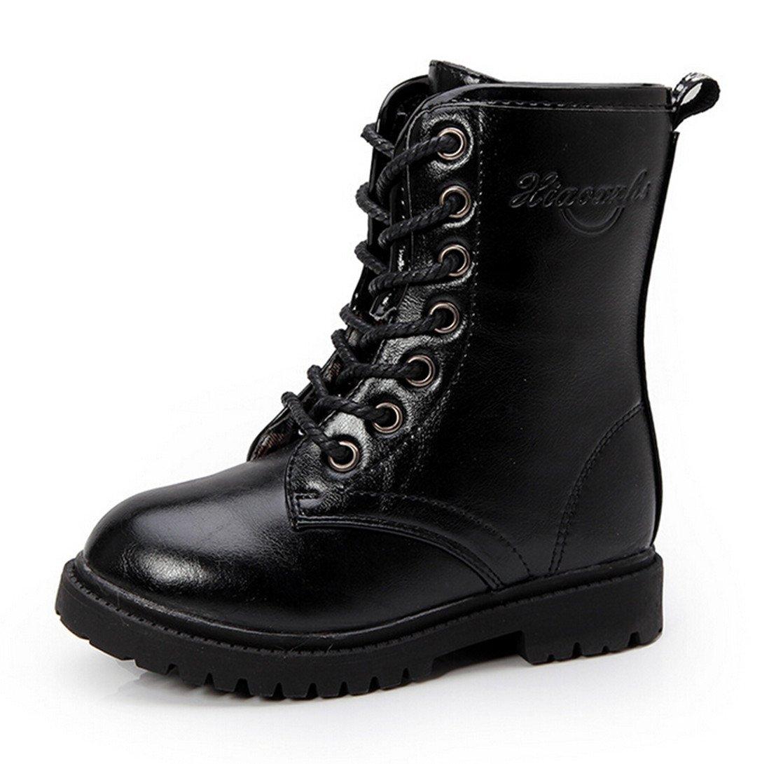 Bumud Boy's Girl's Combat Lace-Up Side Zipper Mid Calf Boots Shoes (Toddler/Little Kid) (11 M US Little Kid, Black)