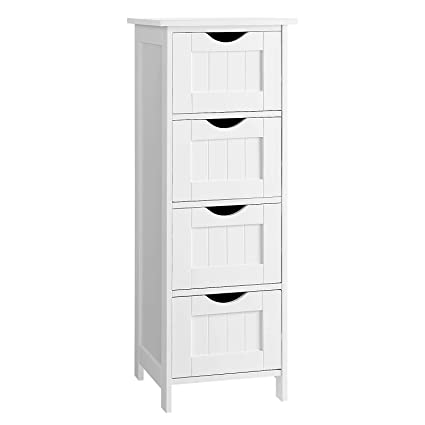 . VASAGLE Bathroom Storage Cabinet  Freestanding Office Cabinet with Drawers   White
