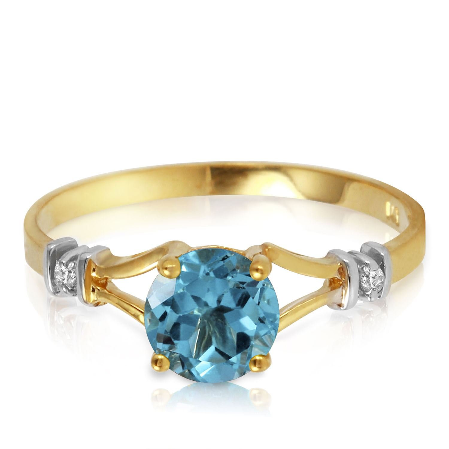 ALARRI 1.02 CTW 14K Solid Gold Love's Ingredient Blue Topaz Diamond Ring With Ring Size 11 by ALARRI (Image #1)