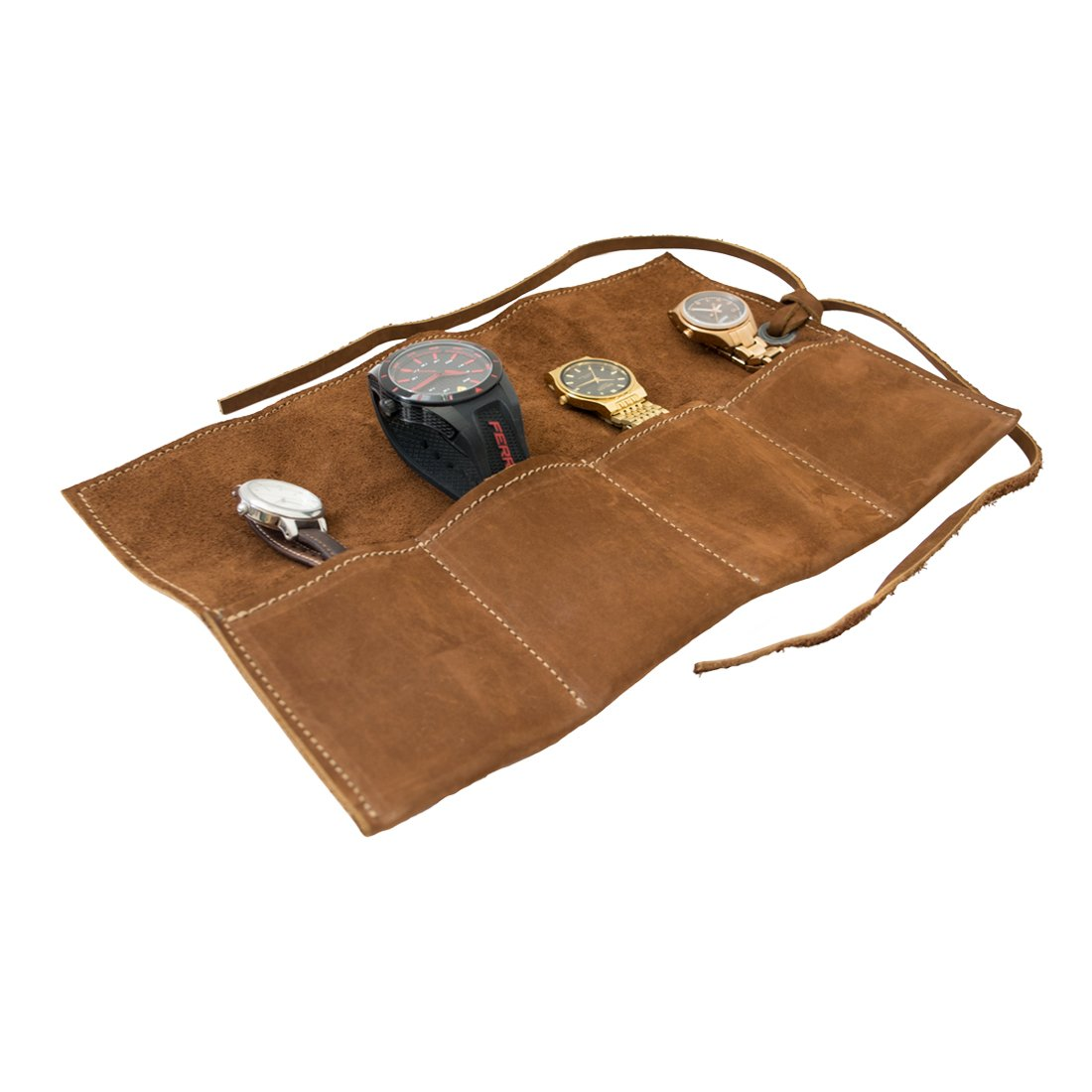 Hide & Drink Soft Leather Travel Watch Roll Organizer Holds Up to 4 Watches Handmade Swayze Suede