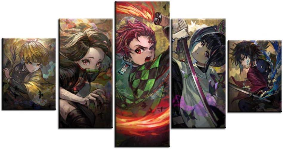 Demon Slayer Posters 5 Piece HD Canvas Printing Anime Poster Anime Wall Decor Japanese Anime Demon Slayer for Living Room Bedroom Wall art Decor Boy Gift No Frame