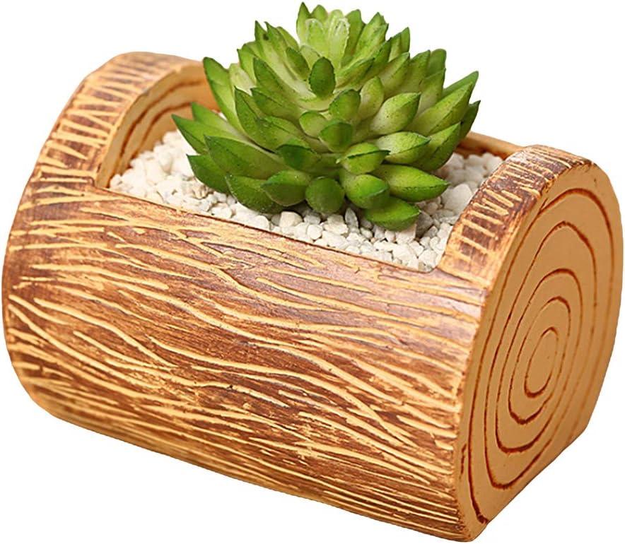 Jascaela Tree Stump Plant Pot Resin Succulent Cactus Flower Pot Wooden Planters Creative Desktop Vase Container Bonsai Office Garden Home Decor (Rectangle)