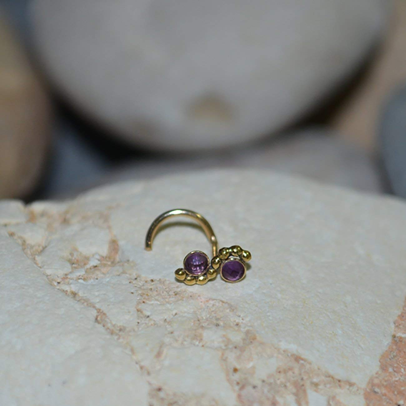 Amazon Com 2mm Amethyst Nose Stud Gold Nose Piercing Helix